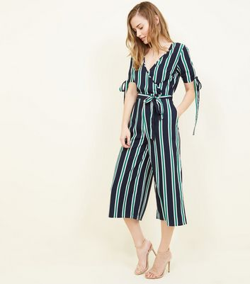 Blue Vanilla Navy Stripe Tie Sleeve Jumpsuit