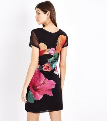Apricot Black Floral Mesh Sleeve Dress New Look