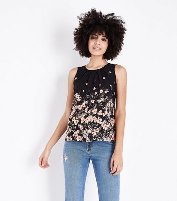 Apricot Black Floral Pleat Neck Top New Look