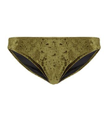 Khaki Velvet Bikini Bottoms New Look