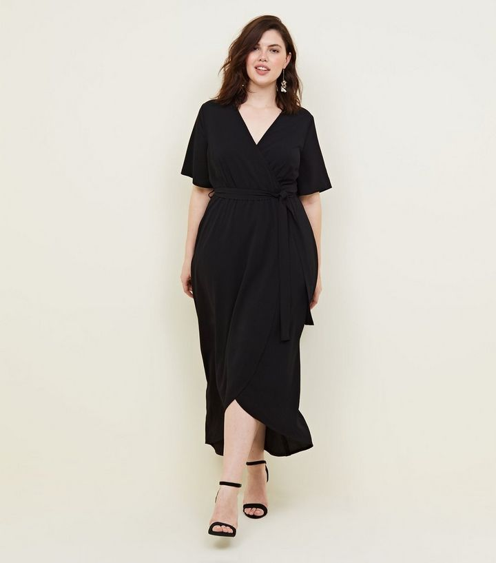 popular brand 2019 best harmonious colors Curves Black Dip Hem Wrap Dress Add to Saved Items Remove from Saved Items