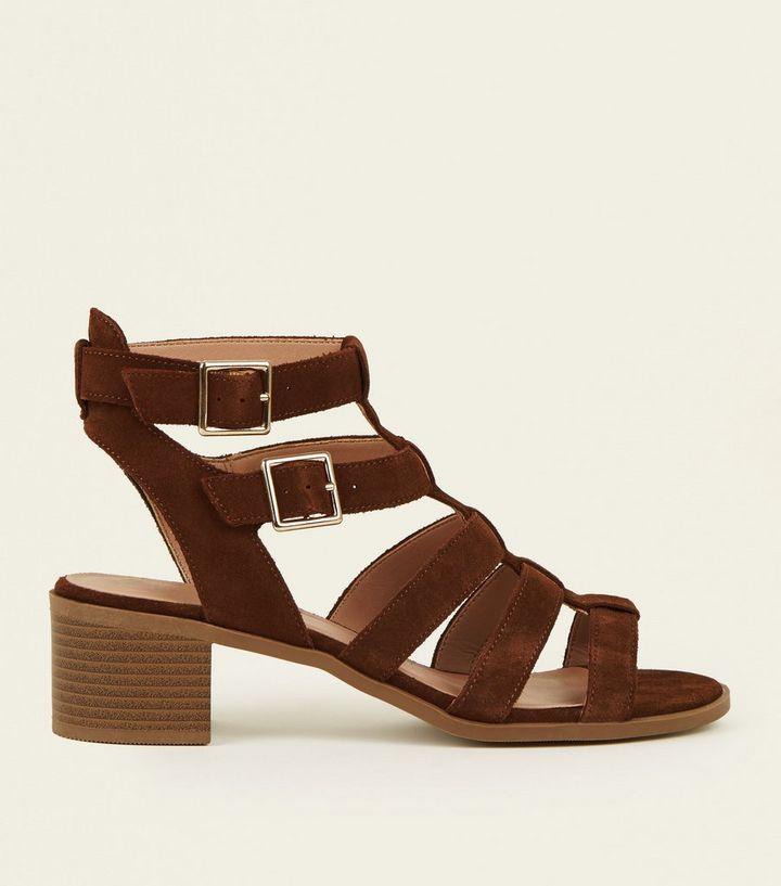 18a1f0cb6c19 Tan Suede Low Block Heel Gladiator Sandals
