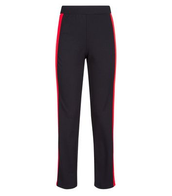 Cameo Rose Black Side Stripe Trousers New Look