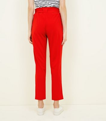 Cameo Rose Red Belted Paperbag Waist Trousers New Look
