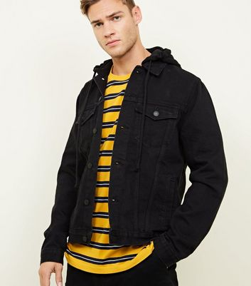 Black Button-Up Hooded Denim Jacket