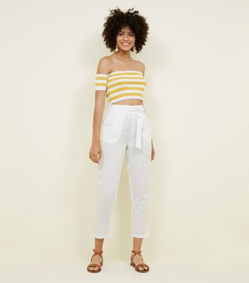 White Linen Blend Tie Waist Cropped Trousers