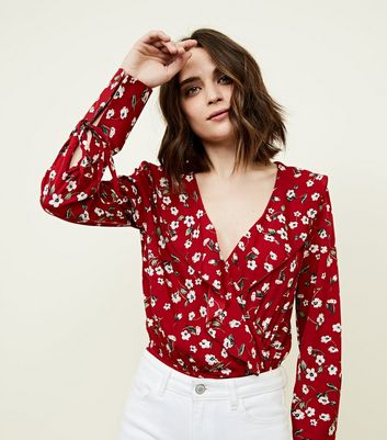 Influence Red Floral Wrap Front Bodysuit New Look
