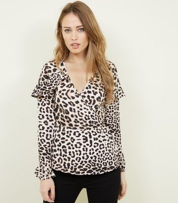Influence Brown Leopard Print Wrap Front Top New Look