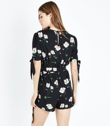 Influence Black Floral Print Wrap Front Playsuit New Look
