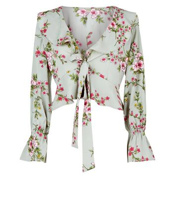 Influence Mint Green Floral Tie Front Top New Look