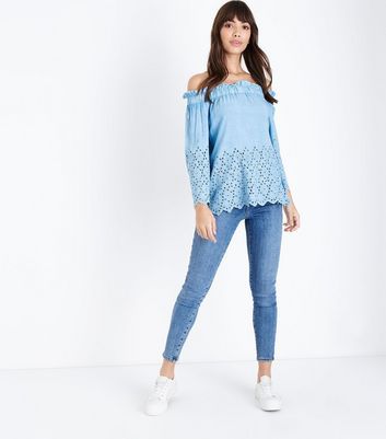 QED Blue Embroidered Cut Out Top New Look