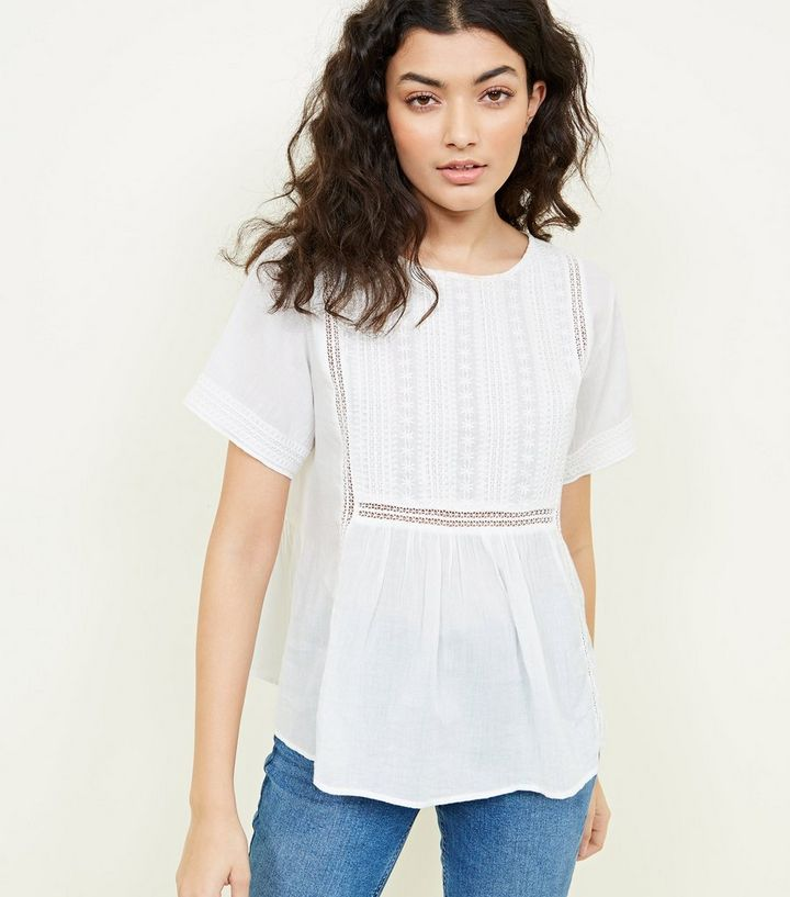 ee0b88f023d White Lattice Embroidered Button Back Top