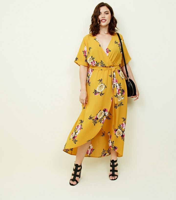 d8e994cd8f4cd Curves Mustard Floral Dip Hem Midi Dress | New Look