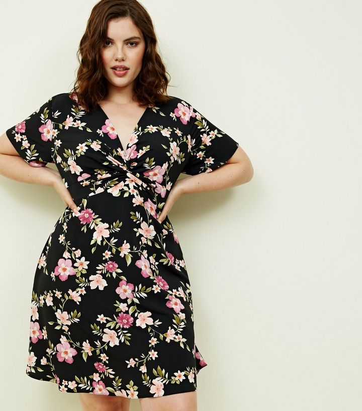attractive price hot-selling authentic pretty cheap Curves Black Floral Print Twist Front Dress Add to Saved Items Remove from  Saved Items
