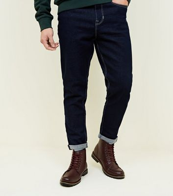 Navy Contrast Stitching Tapered Jeans