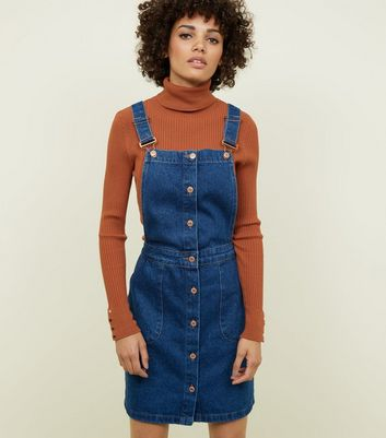 Tall Blue Denim Though Front Pinafore