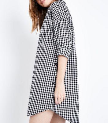 Apricot Black Gingham Shirt Dress New Look
