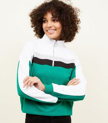 Green Colour Block Half Zip Sweatshirt