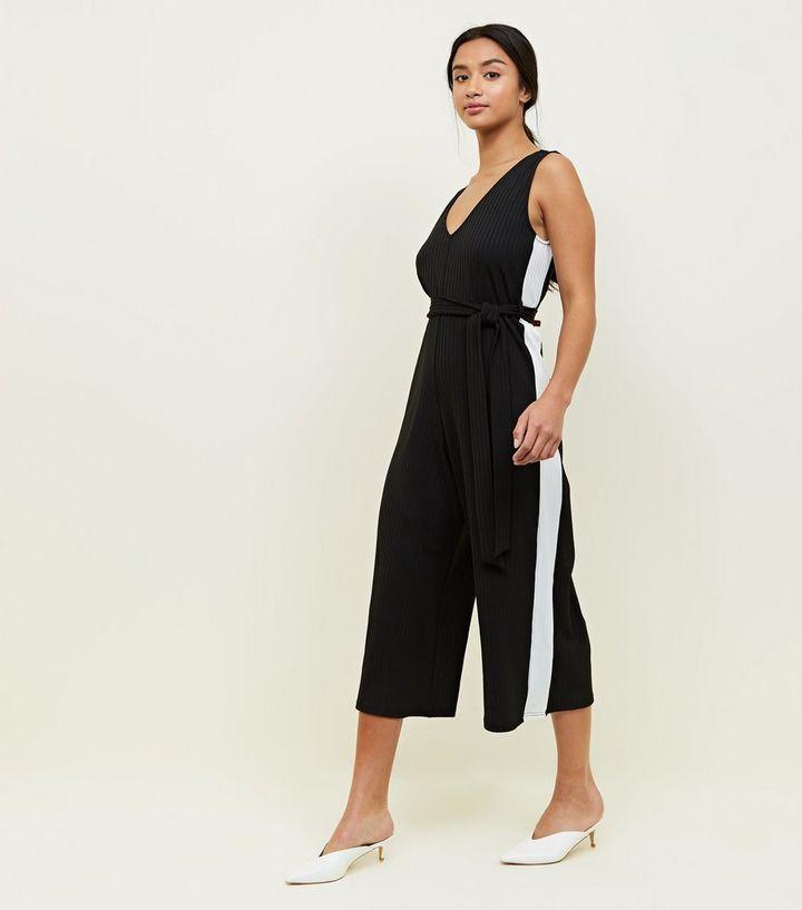 abca1df28e69 Petite Black Side Stripe Belted Culotte Jumpsuit