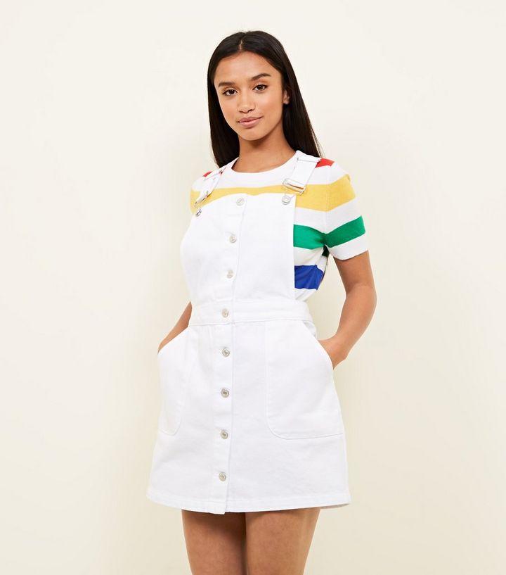 05cec59fbda Petite White Button Front Denim Pinafore Dress