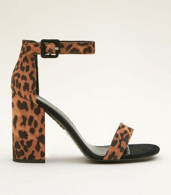Stone Leopard Print Block Heel Sandals