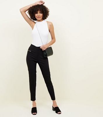 Tall Black Zip Pocket Detail Trousers