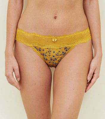 Mustard Floral Lace Waist Thong