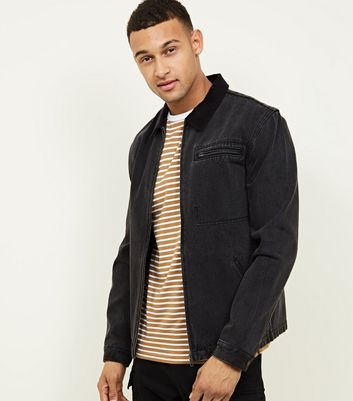 Black Denim Corduroy Collar Worker Jacket