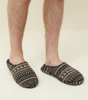 Navy Fairisle Knit Slippers