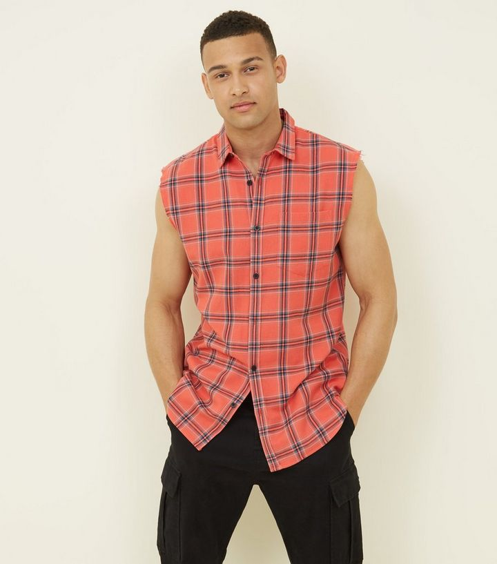 new season outlet boutique info for Red Check Sleeveless Shirt Add to Saved Items Remove from Saved Items