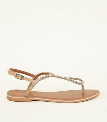Wide Fit Nude Leather Diamanté Flat Sandals