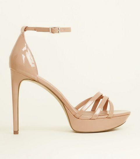 ... Nude Patent Strappy Platform Heels ... 2f6bc98373