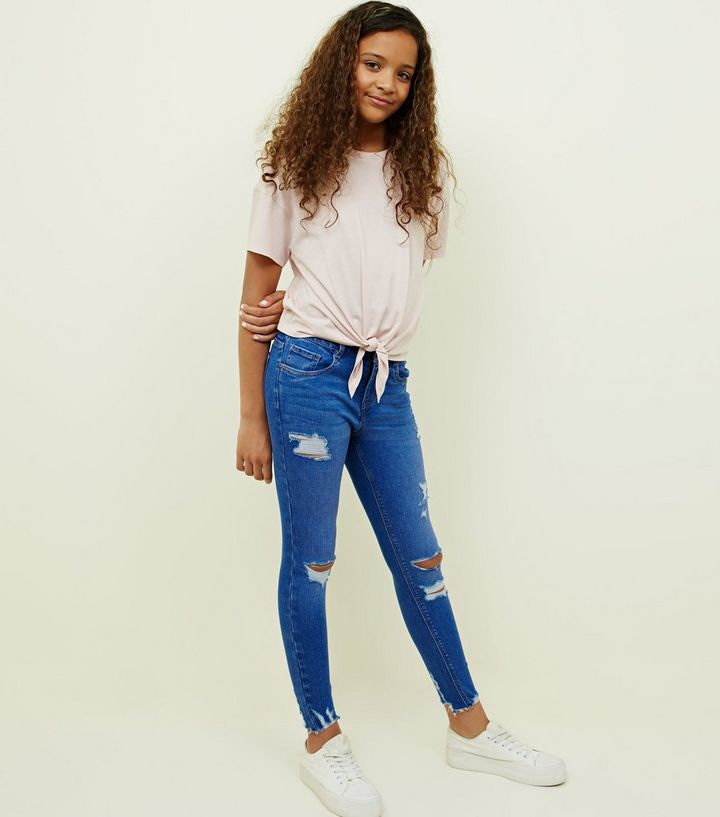 cfe62a0f2f8 Girls Bright Blue Ripped Skinny Jeans | New Look