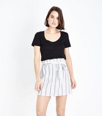 Innocence White Stripe Paperbag Waist Skirt New Look