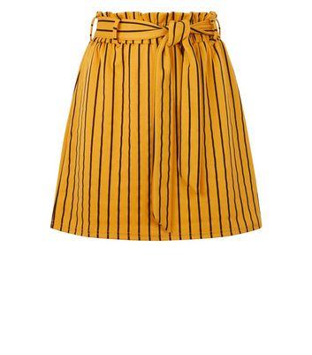 Innocence Yellow Stripe Paperbag Waist Skirt New Look