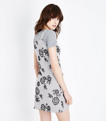 Innocence Light Grey Floral Stripe Pinafore Dress New Look
