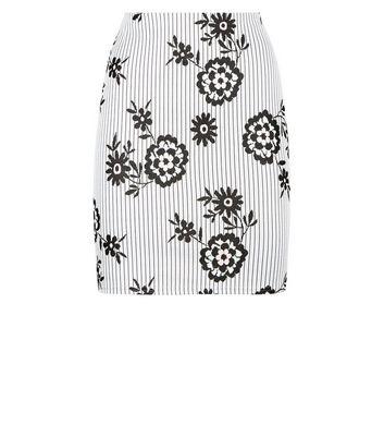 Innocence Light Grey Floral Jacquard Skirt New Look