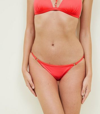 Coral Neon Strappy Ring Side Bikini Bottoms