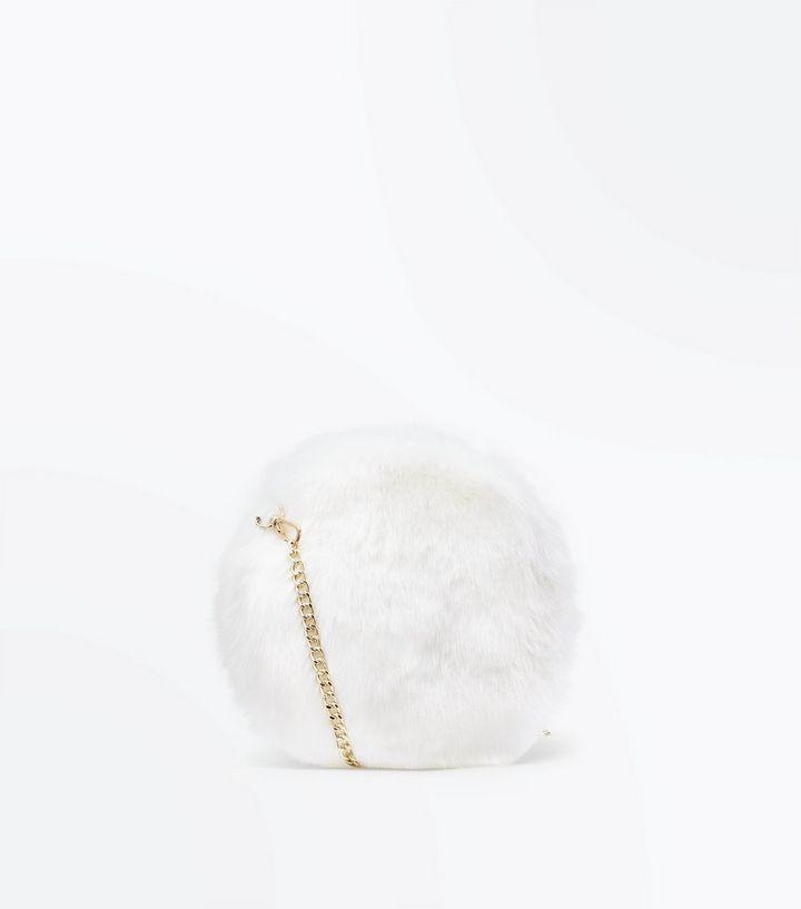 White Faux Fur Round Cross Body Bag  edaeaa4d098cf