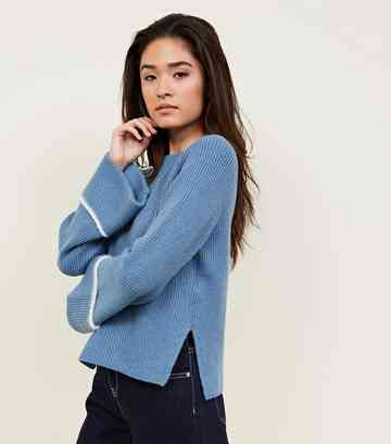 Blue Ribbed Stripe Sleeve Knit Jumper