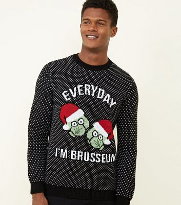 Black Everyday I'm Brusselin' Christmas Jumper