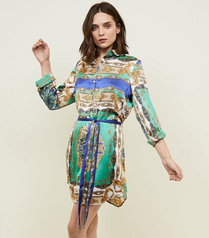 select for best 100% quality quarantee exceptional range of styles and colors Parisian Green Scarf Print Shirt Dress Add to Saved Items Remove from Saved  Items