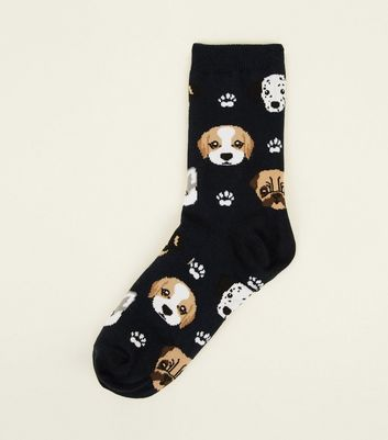 1 Pack Navy Paw and Dog Face Socks