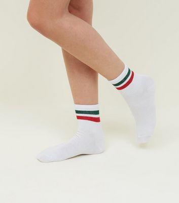 1 Pack White Stripe Trim Sports Socks New Look