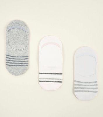 3 Pack Grey Stripe Pop Socks New Look
