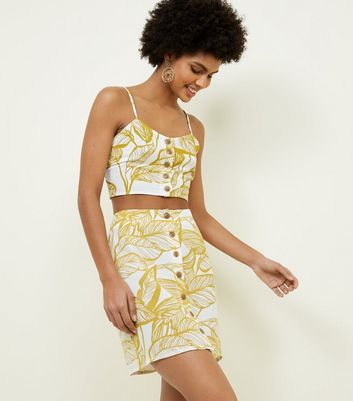 Parisian Yellow Leaf Print Button Front Top