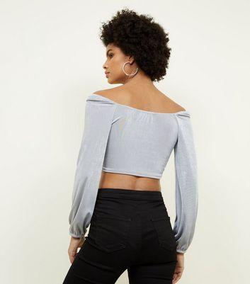 QED Grey Twist Front Crop Top New Look