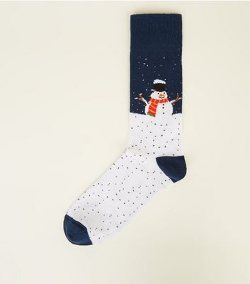 Navy and White Snowman Socks