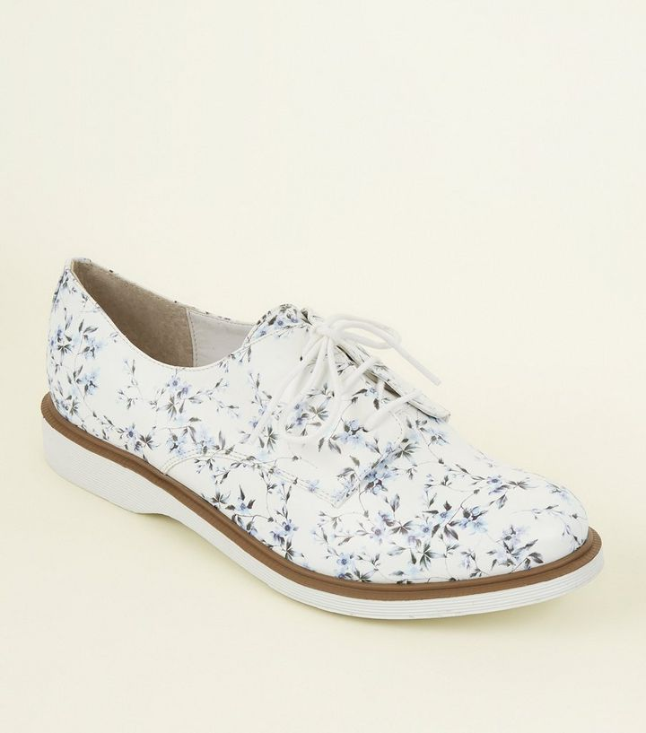 4e045c7fc White Floral Leather-Look Lace Up Shoes Add to Saved Items Remove from  Saved Items