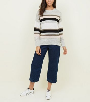 Light Grey Stripe Longline Jumper